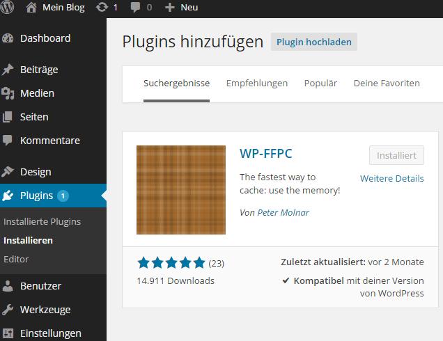 High-performance WordPress mit WP-FFPC, memcached, nginx und